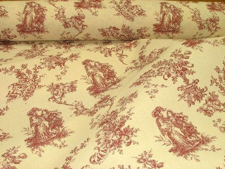 "Red & Natural Cream ""Linen look"" Toile de Jouy  Curtain / Upholstery Fabric"